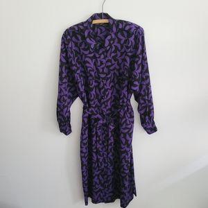 Vintage 80s Wool Poplin Geometric Pattern Midi Dress